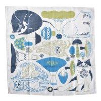 十布(テンプ) /  正方形のダブルガーゼ M:猫とキノコ(バンダナサイズ)水色