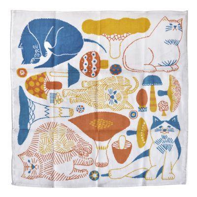 画像2: 十布(テンプ) /  正方形のダブルガーゼ M:猫とキノコ(バンダナサイズ)オレンジ