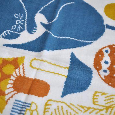 画像4: 十布(テンプ) /  正方形のダブルガーゼ M:猫とキノコ(バンダナサイズ)オレンジ
