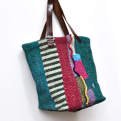 画像2: vintage kantha ralli quilt bag / ヴィンテージカンタ ラリーキルトバッグ( L )
