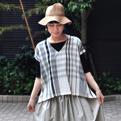 画像3: 【 限定アイテム 】tamaki niime(玉木新雌) /  fuwa-T cotton(フワT:コットン)ショート / 格子(ホワイト)
