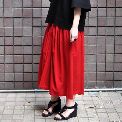 画像1: 【 ブラック再入荷 】FACTORY(ファクトリー)/ バンブーコットン ギャザースカート
