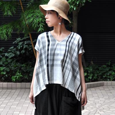画像2: 【 限定アイテム 】tamaki niime(玉木新雌) /  fuwa-T cotton(フワT:コットン)ショート / 格子(ホワイト)