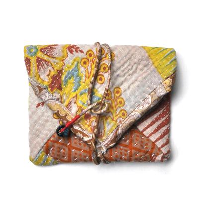 画像1: vintage kantha pouch / ヴィンテージカンタ スクエアポーチ( S )