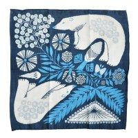 十布(テンプ) /  正方形のダブルガーゼ M:白熊と植物(バンダナサイズ)紺