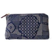 十布(テンプ) /  福島の刺子織ポーチ・ネイビー