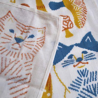 画像3: 十布(テンプ) /  正方形のダブルガーゼ M:猫とキノコ(バンダナサイズ)オレンジ