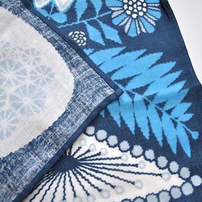 画像3: 十布(テンプ) /  正方形のダブルガーゼ M:白熊と植物(バンダナサイズ)紺