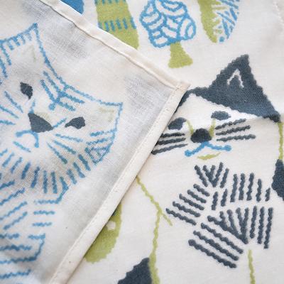 画像2: 十布(テンプ) /  正方形のダブルガーゼ M:猫とキノコ(バンダナサイズ)水色