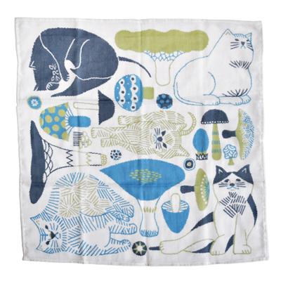 画像1: 十布(テンプ) /  正方形のダブルガーゼ M:猫とキノコ(バンダナサイズ)水色