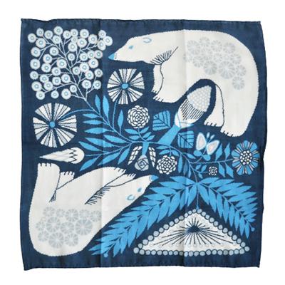 画像1: 十布(テンプ) /  正方形のダブルガーゼ M:白熊と植物(バンダナサイズ)紺