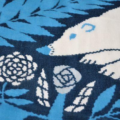 画像2: 十布(テンプ) /  正方形のダブルガーゼ M:白熊と植物(バンダナサイズ)紺