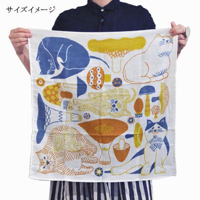 画像4: 十布(テンプ) /  正方形のダブルガーゼ M:猫とキノコ(バンダナサイズ)水色