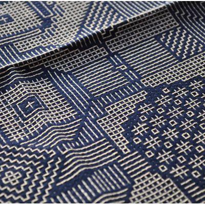 画像3: 十布(テンプ) /  福島の刺子織 大判ハンカチ(ネイビー / オフホワイト)