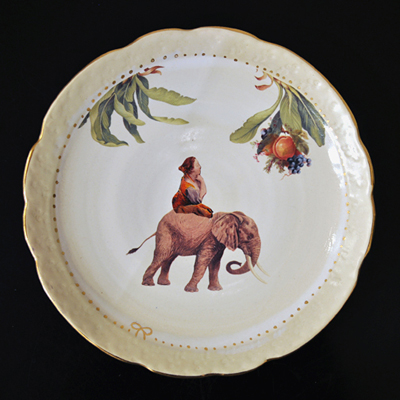 画像1: Ikumi Hiruma(比留間 郁美)/ Circus Plate (Elephant)φ21cm