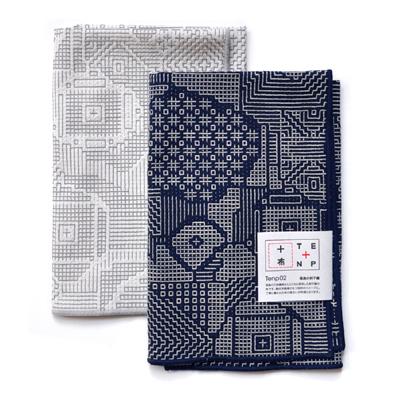 画像1: 十布(テンプ) /  福島の刺子織 大判ハンカチ(ネイビー / オフホワイト)