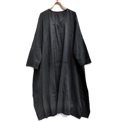 画像1: tamaki niime(玉木新雌) /  basic fuwa all long : cotton(ベーシック フワオール ロング:コットン)(長袖 / ワンピース丈)ブラック