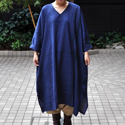 画像2: tamaki niime(玉木新雌) /  basic fuwa all long : cotton(ベーシック フワオール ロング:コットン)(長袖 / ワンピース丈)ネイビー
