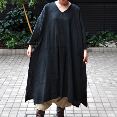 画像3: tamaki niime(玉木新雌) /  basic fuwa all long : cotton(ベーシック フワオール ロング:コットン)(長袖 / ワンピース丈)ブラック