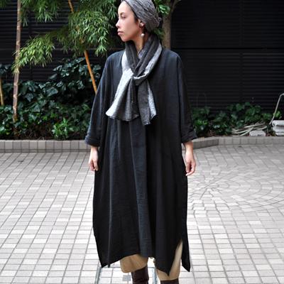 画像2: tamaki niime(玉木新雌) /  basic fuwa all long : cotton(ベーシック フワオール ロング:コットン)(長袖 / ワンピース丈)ブラック