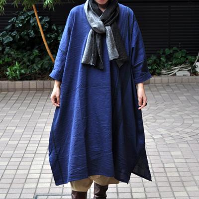 画像1: tamaki niime(玉木新雌) /  basic fuwa all long : cotton(ベーシック フワオール ロング:コットン)(長袖 / ワンピース丈)ネイビー