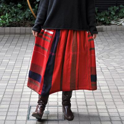 画像1: tamaki niime(玉木新雌)/ only one powan skirt wool(オンリーワン ポワンスカート:ウール)・ショート