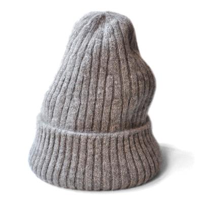 画像1: FACTORY(ファクトリー)/ ヤク リブニット帽(生成りグレー)