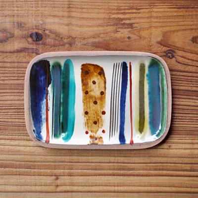 画像1: 一翠窯 / たたら長方皿(小)・ストライプ