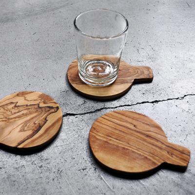 画像1: オリーブの木のコースター(取っ手付き)