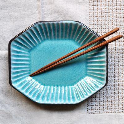 画像1: 【 再入荷 】雅峰窯 / しのぎ八角皿(トルコブルー)