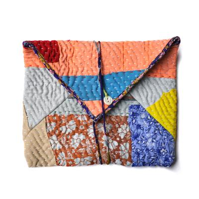 画像1: vintage kantha pouch / ヴィンテージカンタ スクエアポーチ( L )