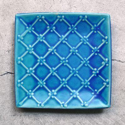画像1: 一翠窯 / たたら正方皿 いっちん格子(大)・トルコブルー
