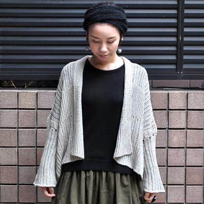 画像1: 【 2018SS 】FACTORY(ファクトリー)/ 綿×麻×和紙  ローゲージ ショート丈ニットジャケット