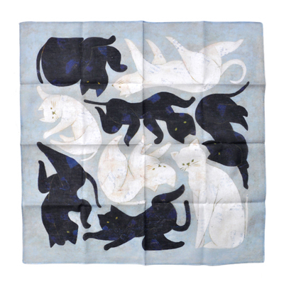 画像1: 十布(テンプ) /  タブローシリーズ ハンカチ:黒猫 白猫