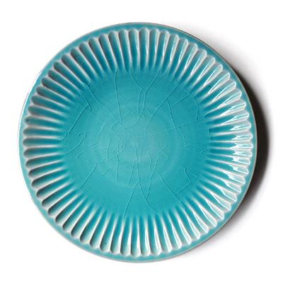 画像3: 雅峰窯 / しのぎ平丸皿・7寸(トルコブルー)