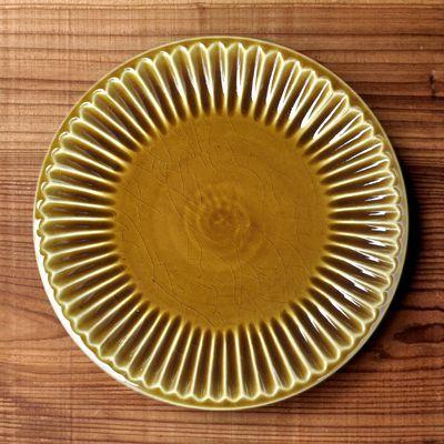 画像2: 雅峰窯 / しのぎ平丸皿・7寸(ディープイエロー)
