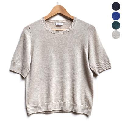 画像2: 【 2018SS 】FACTORY(ファクトリー)/ コットンリネン  クルーネックセーター(5分袖)※サイズ3有り