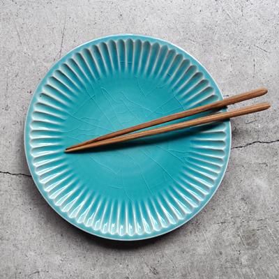 画像1: 雅峰窯 / しのぎ平丸皿・7寸(トルコブルー)