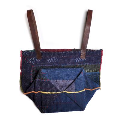 画像5: vintage kantha ralli quilt bag / ヴィンテージカンタ ラリーキルトバッグ( L・藍染 )