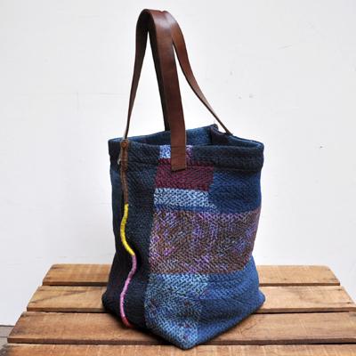 画像4: vintage kantha ralli quilt bag / ヴィンテージカンタ ラリーキルトバッグ( L・藍染 )