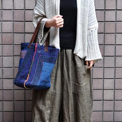 画像3: vintage kantha ralli quilt bag / ヴィンテージカンタ ラリーキルトバッグ( L・藍染 )
