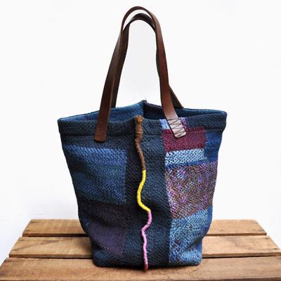 画像1: vintage kantha ralli quilt bag / ヴィンテージカンタ ラリーキルトバッグ( L・藍染 )