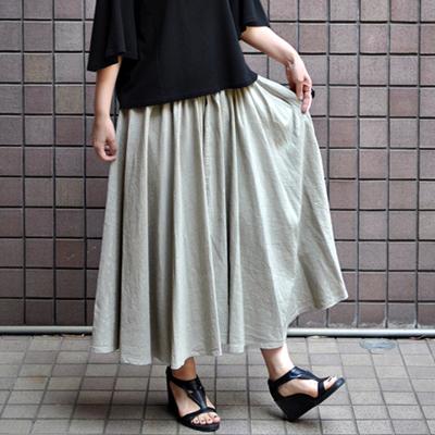 画像1: 【 2018SS 】FACTORY(ファクトリー)/ コットンリネン ストライプ サーキュラーギャザースカート