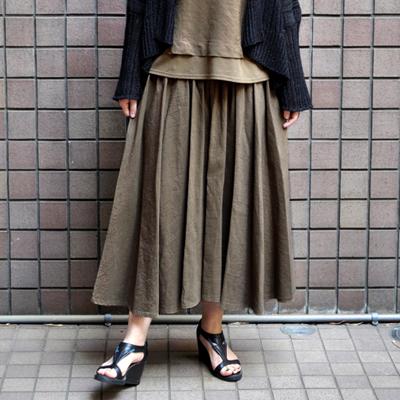 画像4: 【 2018SS 】FACTORY(ファクトリー)/ コットンリネン ストライプ サーキュラーギャザースカート