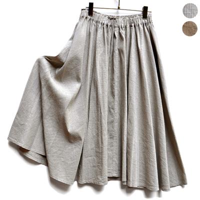 画像2: 【 2018SS 】FACTORY(ファクトリー)/ コットンリネン ストライプ サーキュラーギャザースカート