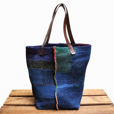 画像2: vintage kantha ralli quilt bag / ヴィンテージカンタ ラリーキルトバッグ( L・藍染 )