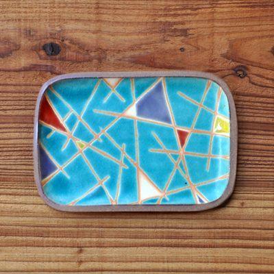 画像1: 一翠窯 / たたら長方皿(小)・トルコ三角