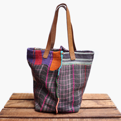 画像1: vintage kantha ralli quilt bag / ヴィンテージカンタ ラリーキルトバッグ( L )
