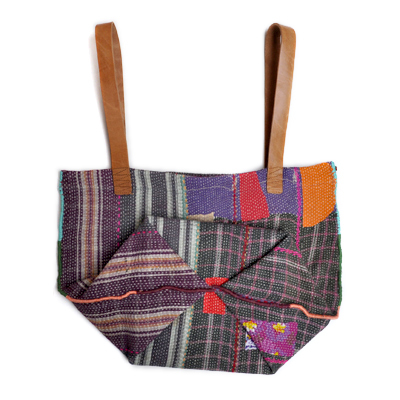 画像4: vintage kantha ralli quilt bag / ヴィンテージカンタ ラリーキルトバッグ( L )