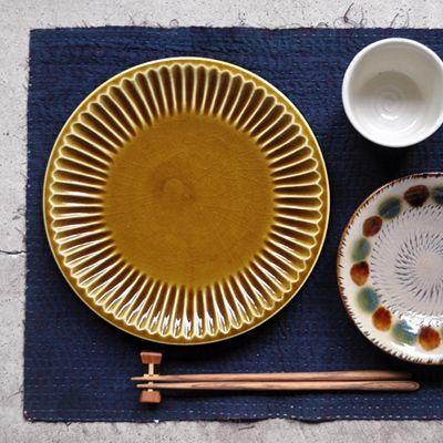 画像1: 雅峰窯 / しのぎ平丸皿・7寸(ディープイエロー)
